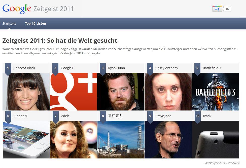 Danach suchte die Welt: Google Zeitgeist 2011