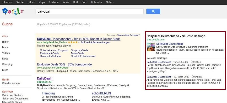 Google Plus Profile in den Suchergebnissen